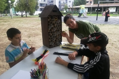 Модераторът на събитието с импровизираният пчелен хотел, чрез който успяхме да разкажем на децата за живота на дивите пчели